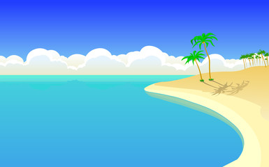 Vector illustration of a beautiful island with palms and the ocean, with a blue sky and the cumulus clouds in the background. Empty space leaves room for design elements or text.Poser.Postcard.
