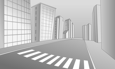 Vector illustration of a street with the pedestrian crossing in the city, with buildings and footpaths. Empty space leaves room for design elements, custom signs or billboards. Poster. Background.