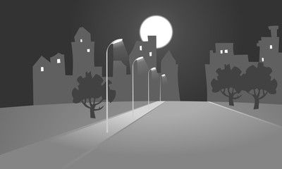 Vector illustration of the empty road leading to the city at night, with lighted lampposts, silhouettes of buildings, trees and a bright harvest moon in the background. Poster. Background.