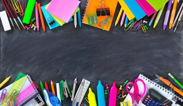 School and office supplies double border on blackboard