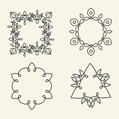Monogram design elements for logos. Trendy floral frames set.