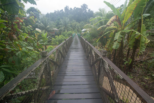 Wooden road to the Annah Rais Longhouses