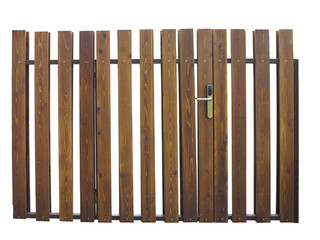 Old brown wooden gate with lock isolated over white