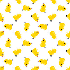 Seamless pattern with yellow chickens. Baby background.
