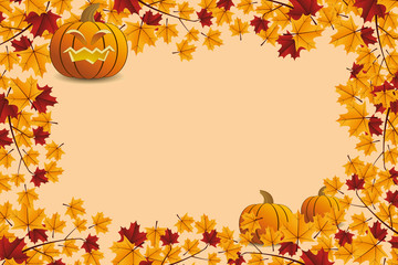 Halloween pumpkin with leafs