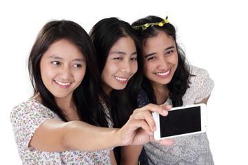 Cheerful girls take selfie