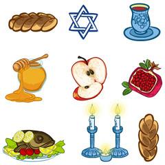 Symbols of Rosh Hashanah (Jewish New year). vector illustration