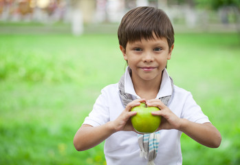 A little boy holds green apple on the background of summer park