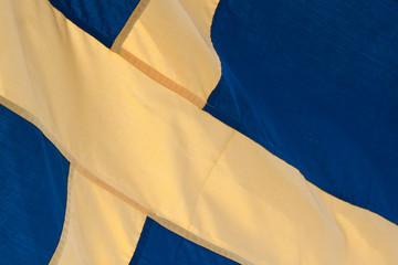 Schwedische Fahne, Kreuz, Nahaufnahme