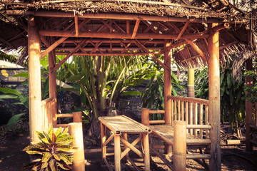 bamboo bench.