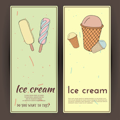 Hand drawn vector illustration with ice Cream. Banner set.
