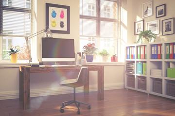 Schreibtisch im Home Office - Arbeitszimmer - Vintage Look