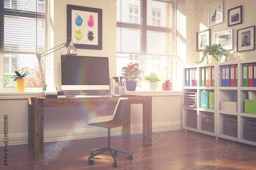 Schreibtisch im home office arbeitszimmer vintage for Schreibtisch vintage look