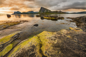 Wall Mural - Sunset over Lofoten islands, Norway.