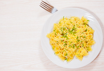 Farfalle pasta with cheese