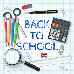 Vector pen, calculator and other school supplies.
