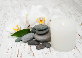 Acrylic Prints Spa stones, orchids and candle