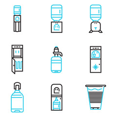 Water coolers simple line icons