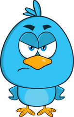 Angry Blue Bird Cartoon Character