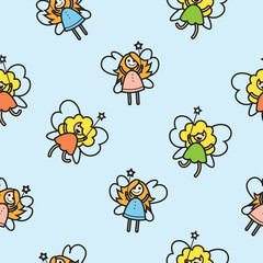 Seamless pattern with cute cartoon fairies on a blue background.