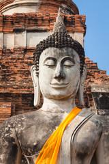 Ancient Buddha at Wat Yai Chaimongkol, Ayutthaya