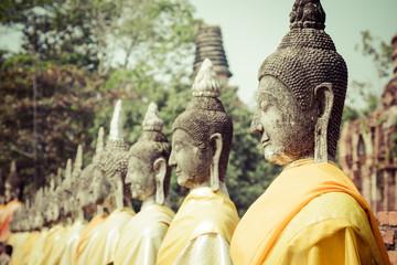 Aligned Buddha Statues at Wat Yai Chaimongkol Ayutthaya Bangkok