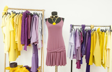 Dressing closet with complementary colors violet and yellow clothes. Wardrobe with purple and yellow clothes arranged on hangers and a summer dress on a mannequin.