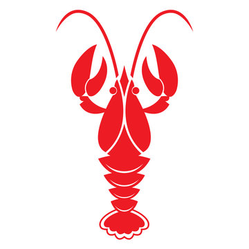 Red crawfish on white background. Vector icon or sign.