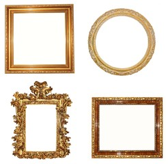 Set of old golden frames isolated on white