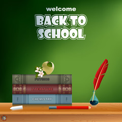 Back to school, design template with school books, feather in ink bottle, chalk, pencil, apple, flower on desk and space for text
