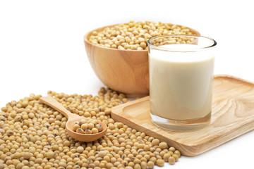 Isolated soy beans and soy milk in a glass on wooden tray