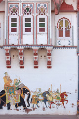 Street art depicting warriors going into battle showing a typical level of miniature detail as in Rajasthani painting tradition