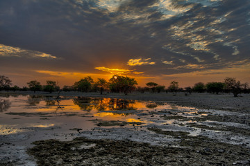 Tramonto nel Kalahari