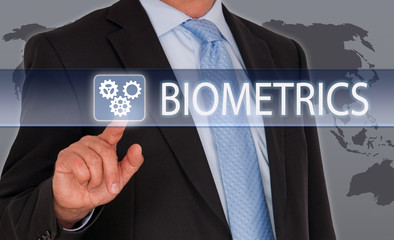 Biometrics - Businessman with touchscreen