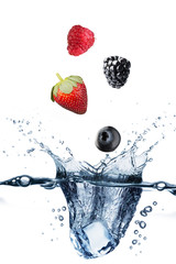 Water Splash With Various Berries
