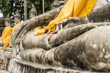 Hand of buddha statue at Wat Yai Chai Mongkol in Ayutthaya, Thailand