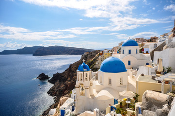 Wall Murals European Famous Place Santorini iconic blue roofs