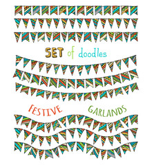 Set of bright festive bunting and garlands isolated on white bac