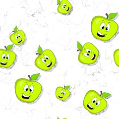 Seamless pattern with smiling apples on textured background
