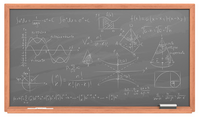 Chalkboard with Math. Black Chalkboard with wooden frame. Chalk dust surface and Sample Mathematics.