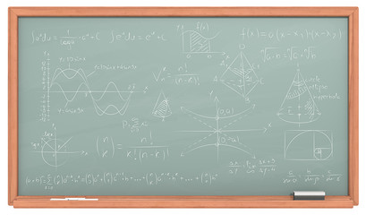Math Chalkboard. Green Chalkboard with wooden frame. Chalk dust surface and Sample Mathematics.
