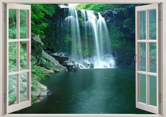 View from open window to Chunjeyun falls