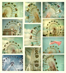 aged and worn vintage ferris wheel collection