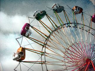 aged and worn vintage photo ferris wheel