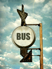aged and worn vintage photo of bus sign