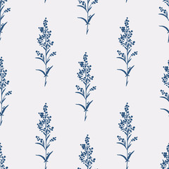 Seamless hand-drawn floral pattern with herbs
