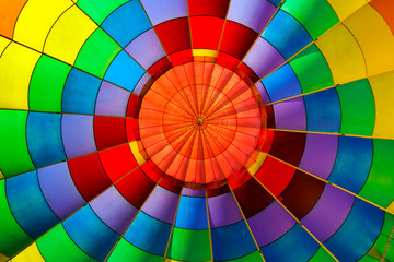 Colorful hot air balloon from inside.