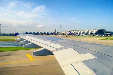 view of suvarnabhumi airport from window airplane