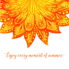 Template with orange doodle fire flower. Tribal design with