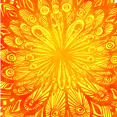 Orange watercolor background with hand drawn doodles and